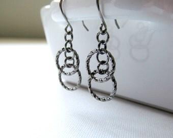 Gunmetal Hoop Earrings - Simple Minimalist Dangle Earrings