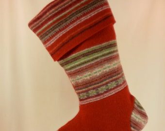 Christmas Stocking//Felted Wool//RedGreenWhite//Fair Isle//Stripes//Recycled//Repurposed 476
