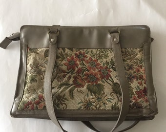 Vintage Phillippe Tapestry Bag with Leather Trim
