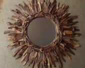 "31"" Rustic Natural Walnut Wood Sunburst Mirror, ©2016 FallenWalnut.Etsy.com, Salvaged Reclaimed Wood Wall Art MADE to ORDER"