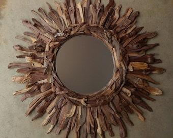Rustic Natural Walnut Wood Sunburst Mirror, Reclaimed Wood MADE to ORDER