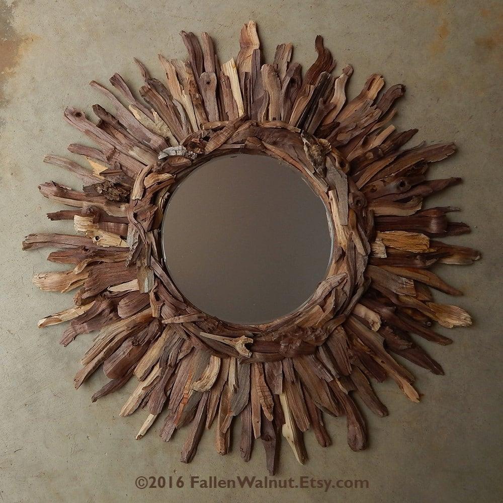 Rustic Natural Walnut Wood Sunburst Mirror Reclaimed Wood