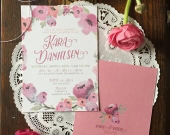 Pink Floral Wedding Shower Invitation   Boho Wedding   Floral Wedding Shower