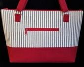 Medium Tote bag, Purses with Zippers,  Handmade Handbag, Ticking, Shoulder Bag, Blue and Red Purse