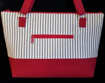 Medium Tote bag, Purses with Zippers,  Handmade Handbag, Ticking, Shoulder Bag, Blue and Red Purse