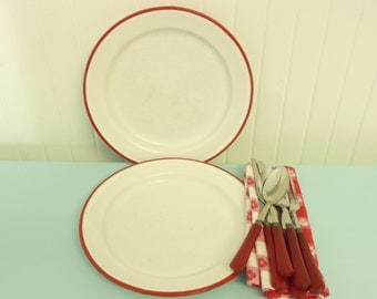 Two Plates, Set of 2 Enamelware Red and White Dinner Plates, Camping Kitchen Enamel - Vintage Travel Trailer Decor
