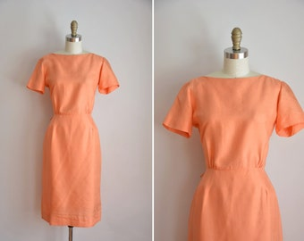 50s My Clementine dress/ vintage 1950s silk dress/ 50s simple fitted daydress
