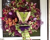 Easter Bunny Wreath, Easter Hat Wreath, Easter deco mesh wreath