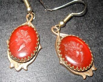 Cameo earrings for pierced ears Antique earrings carnelian stone