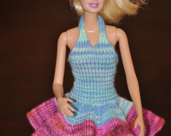 Hand Knit Barbie Halter Two Tone Dress with Ruffled Pleated Skirt ~ Pink and Blue Colors