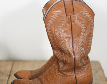 vintage justin golden tan leather cowboy boots mens size 7.5EE