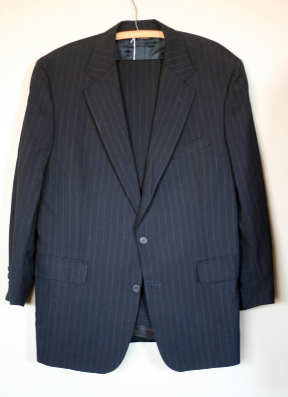 vintage brooks brothers suit black pinstripe wool size 42 vLxOhf