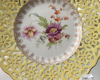 Antique Plate/Dresden Display Plate/6 Inches/Robert Klem Artist/Yellow Reticulated Border/Germany/Fancy China/Cabinet Display/Christmas Gift