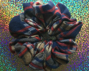 Upcycled MAD PLAID Hair Scrunchie