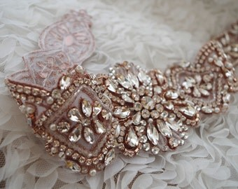 rose gold rhinestone sash applique, crystal applique for wedding sash, gold rhinestone bridal sash belt, crystal sash belt 2016 new arrival