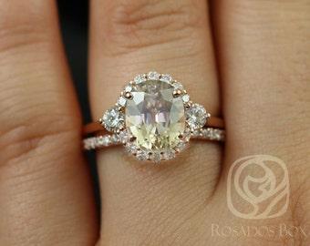 Rosados Box Britney 4.74cts 14kt Rose Gold Oval Champagne Zircon and Diamonds Halo Wedding Set