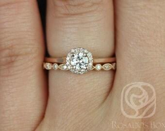 Rosados Box Amerie 4.5mm 1/3cts & Ultra Petite Bead Eye 14kt Rose Gold Round Diamond Halo Wedding Set