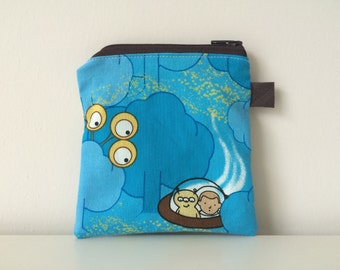 Outer Space Coin Pouch - Zippered - Aliens Fabric Pouch - Spaceship Pattern Mini Bag - Accessories Holder for Boys - Credit Card Pouch