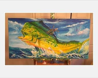 """Original dirado 48""""x24"""" acrylic painting"""