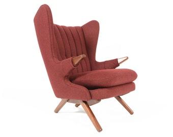 Danish Mid Century Modern Svend Skipper Model 91 Papa Bear Lounge Chair in Burgundy