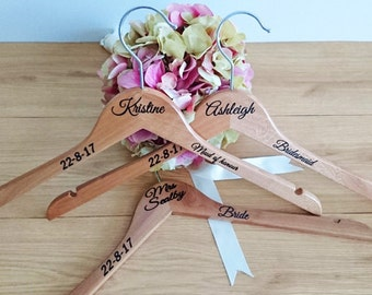 Essential Hangers; Personalised Wedding hangers; custom wedding Hangers; bride hangers; vinyl wording hangers; wedding hangers; DIY hangers