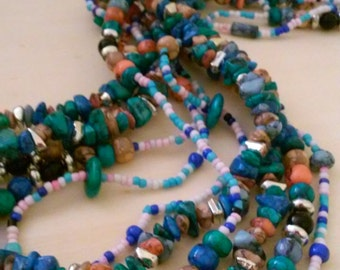 Multi Color Beaded 3 Strand Necklace