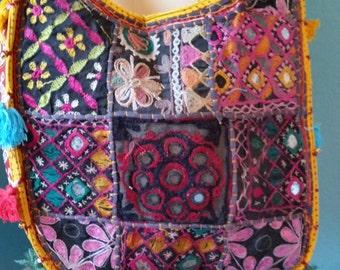 Ethnic tribal hand embroidered boho cross body bag