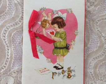 Vintage Valentine Cupid Angel and Little Girl Pink Heart Unsigned Romantic Greeting Card Paper Ephemera