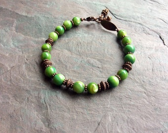 """Green Shell Bracelet / One-of-a-Kind / Antique Copper / Pine Cone / Bead / Charms / Lime / Round - 8"""" long - B54"""