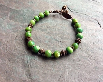 """Green Shell Bracelet / Antique Copper / Pine Cone / Bead / Charms / Lime / Round - 8"""" long - B54"""