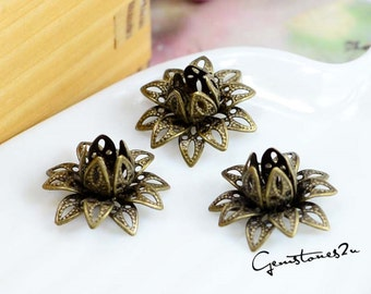 20pcs 3 Colors--Bronze / White K Plated / Golden 16mm Raw Brass Filigree bead caps Flower Petals Stamping for bead wraps / caps / flowers
