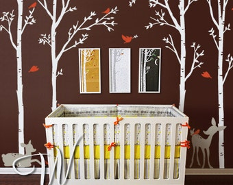 Birch Trees, Birds and Fawns - Nursery Wall Decal