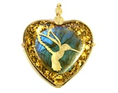 Labradorite with 22 k Gold Hummingbird (collaboration with Sacred State Design) - Seed of Life on the back