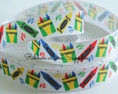 """7/8"""" Ribbon by the Yard-Back to School ABC Crayons grosgrain ribbon-supplies by Ribbon Lane Supplies on Etsy"""