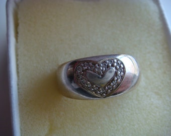 Silver Ring with Heart and Diamonds