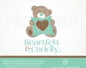 Premade Teddy Bear Logo Pillow Logo - Cute Bear with Heart Pillow Logo Customizable Watercolor Bear Logo - Brown and Teal Teddy Bear Design
