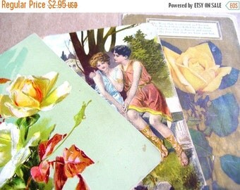 July Sale 3 Antique Victorian Post Cards - Vintage Sweethearts Post Cards - Victorian Posey Ephemera - Vintage Ephemera - Vintage Greeting C