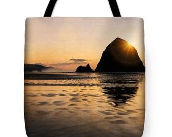 Tote Bag, Cannon Beach Photography, Haystack Rock Travel Bag, Bridesmaid Gift, Gift for Her, Market Tote, Fabric Handbag, Purse