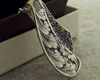 Amethyst Pendant Custom Hand Engraved