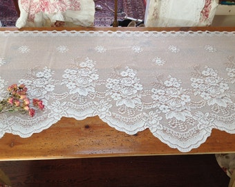 Vintage lace shabby chic valance cottage lace curtain vintage swag floral valance by herminas cottage lace