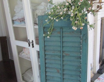 vintage blue green distressed Vintage salvaged architectural salvage wooden new england shutters by hermina's cottage
