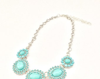 Turquoise and silver bib necklace