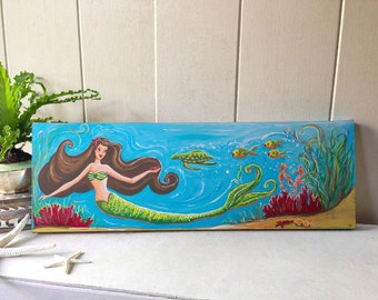 Mermaid Giclée - beach, tropical, hawaiian wall decor sign