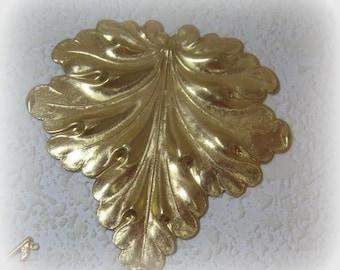 Huge Leaf Blank Cuff Bracelet 88MM Raw Brass Stamping