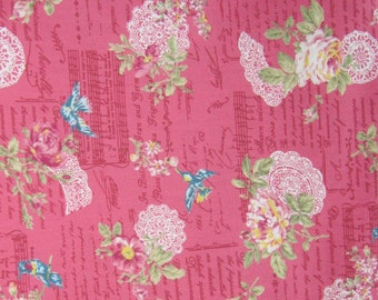Vintage Style Japanese Cotton Fabric, Dusty Rose Fabric, Musical Note Cotton Fabric, Roses Cotton Fabric, Fabric By The Yard