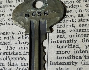Mosh Hammered Steampunk Vintage Hand Stamped Key Necklace or Keychain