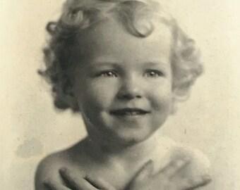 Sweetest Blonde Curls Angel Baby Vintage Photo