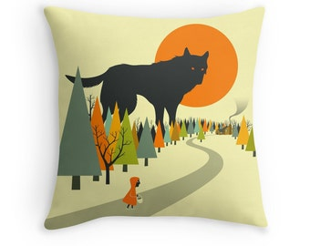 RED RIDING HOOD Throw Pillow for your Home Decor