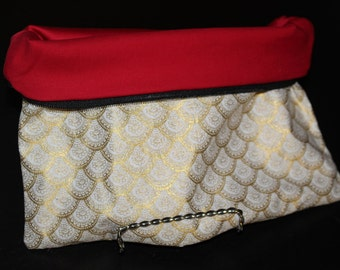 Large Gold Art Deco Scallop Pouch with Red Lining - Zipper Pouch, Makeup Bag, Clutch, Foldover, Fancy, Catch All