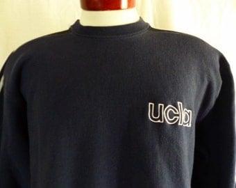Go UCLA Bruins vintage 80's 90's University of California Los Angeles navy blue graphic sweatshirt reverse weave fleece white logo stripe LG